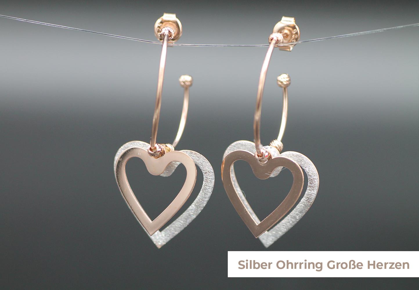 Silber Ohrring große Herzen
